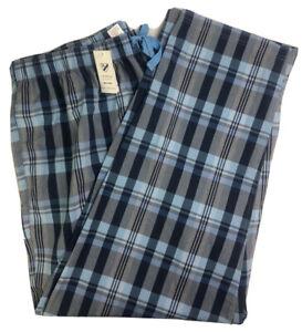 Cremieux Mens Sleep Lounge Pants Blue Navy Blue Plaid Cotton NEW