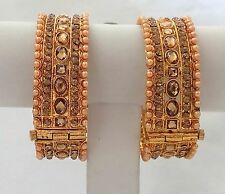 Indian Traditional Ethnic Stone Bangles Gold Plated Set of 2 Pieces Size 2.8.