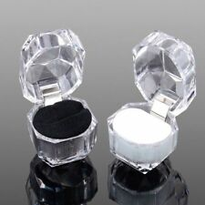 1Pcs Transparent Octagonal Girl Ring Box Boxes Gift Jewelry Necklace