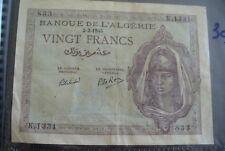 ANCIEN BILLET RARE - BANQUE ALGERIE - 1945 - 20 FRS  -  TTB+