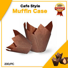 CAFE STYLE CHOCOLATE TULIP MUFFIN CASES 200PC -P50 MINI 110x110 CM CUPCAKE BOXES