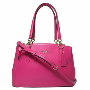 Brand New W tags Coach CRSGR Leather SM Christie C Handbag in Pink Ruby F36637