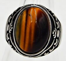MEN RING BROWN TIGER'S EYE STONE SYN STAINLESS STEEL SILVER SOLITAIRE VTG SZ 10