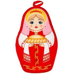 Red Nesting Doll Potholder Matryoshka Holding Russian Karavay Bread 9x5 in