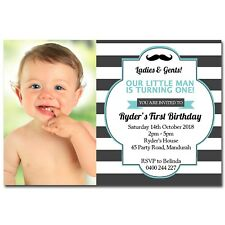 Little Man Moustache Birthday Invitation with Photo