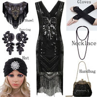 Vintage 1920s Flapper Dress Gatsby Black Gatsby Party Womens Clothing Plus Size