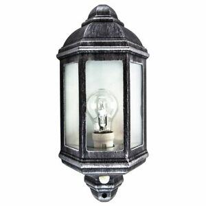 Traditional PIR Sensor Outdoor Wall Light Fitting - Black/Silver Die-Cast Frame