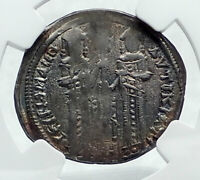 ANDRONICUS II PALAEOLOGUS Silver Basilicon Byzantine Coin CHRIST NGC i81683