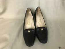 New listing Vintage Salvatore Ferragamo Black Loafer with Velvet Small Heel Shoes 8 Aaaa