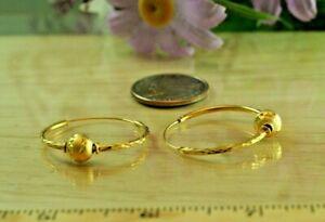 22K DP THAI BAHT YELLOW GOLD ~ BEAUTIFUL CLASSIC DIAMOND CUT BEAD HOOP EARRINGS
