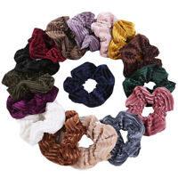Women Striped Soft Velvet Scrunchies Ponytail Solid Color Hair Rope Hair Ties