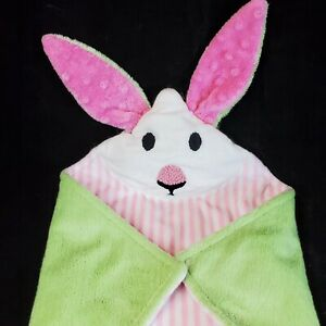 Pink and Green Bunny Rabbit Security Blanket Lovey Minky Super Soft  15x15