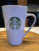 Starbucks 2015 White Green Siren Logo Tall 14.67 Oz Coffee Mug Ceramic Cup