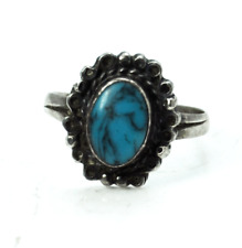 Vintage Sterling Turquoise Oval Solitaire Ring 15mm Size 8 Dot Halo