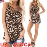 Womens Leopard Print Cami Vest Tops Ladies Sleeveless Summer Tank Tops Camisole