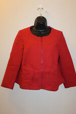 Anthropologie Elevenses Women's Red Full Zip Colarless Blazer Jacket Size: 10