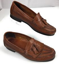 Dexter Made in USA Weave Kiltie Tassel Brown Leather Loafers Shoes Men's 9 M