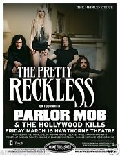 """THE PRETTY RECKLESS /PARLOR MOB """"THE MEDICINE TOUR"""" 2012 PORTLAND CONCERT POSTER"""