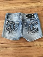 MISS ME Girls Jean Shorts Crystal BLING Peace Sign
