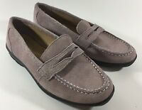 Women's Lands End shoes Lilac shoes suede Leather Slip-On Loafers Size 5.5
