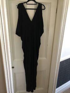 Monsoon Draped Grecian Style Black Dress Size 18