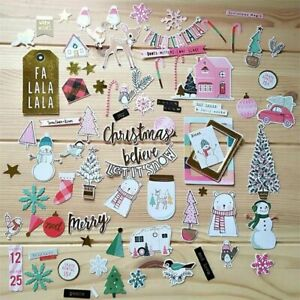 Merry Christmas Colorful Cardstock Die Cuts For Scrapbooking Journaling Project