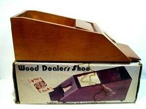 Vintage 1983 Deluxe Solid Wood Card Dealer's Shoe With Weighted Card Feeder USED