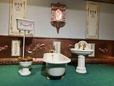 doll house furniture Bodo Hennig bath/taps/ sink/high level toilet 1.12