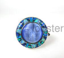 BEAUTIFUL SAJEN GODDESS RING Sterling Silver Inlaid Opal Fiber Optic Blue Size 9
