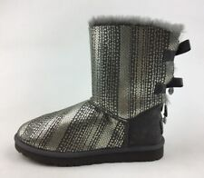 UGG Australia 1004791 Bailey Bow Pull On Winter Boots Women's Size 8, Gray 3263