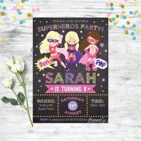 GIRLS SUPERHERO INVITATIONS BIRTHDAY PARTY PERSONALISED INVITES SUPER HEROS