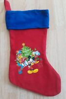 Disney Felt Christmas Stocking Mickey Mouse Donald Duck &  Goofy Red Presents