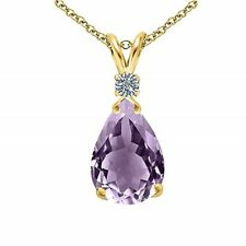 """1/2 ct Natural Amethyst Topaz Pendant Necklace in 10K Yellow Gold Plated 18"""""""