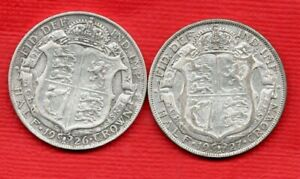 1926 & 1927 SILVER HALFCROWN COINS. 2 GEORGE V. HALF CROWNS IN A USED CONDITION.