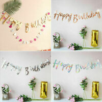 3 Colours Glitter Happy Birthday Letter Bunting Garland Banner Party Decor