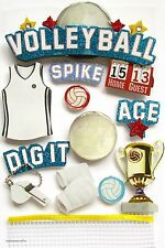 Paper House 3-d Glitter Stickers Trophy Spike Dig it Skein Sports Volleyball