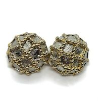 Retro 80s Style Power Dressing Clip On Earrings Round Gold Tone Rope Design