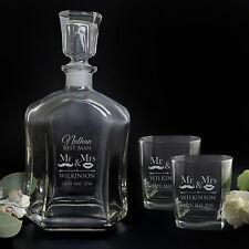 Engraved Decanter + 2 Scotch Glasses Gift Set Wedding 21st Birthday Groomsman