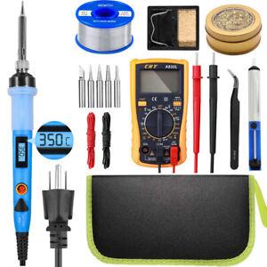 Soldering Iron Kit Gun 80W LCD Electric Welding Tool Solder Wire Adjustable Temp