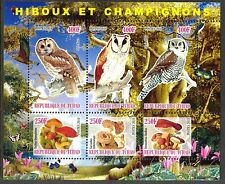 Chad 2010 Birds Owls & Mushrooms II Butterflies Flowers Sh of 6 MNH** Privat !