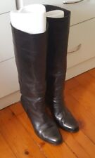TONY BIANCO Leather Black Calf Knee High Block Pull On Leather Boots Size 6.5 B5