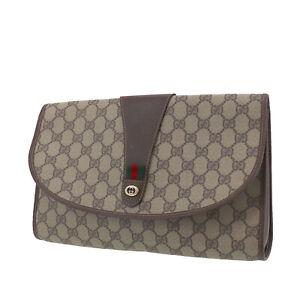 GUCCI GG Plus Web Stripe Clutch Bag Brown PVC Leather Vintage Italy Auth #XX580