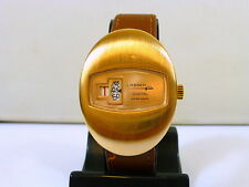 1970s LARGE GENTS ROSE GOLD PLATED SWISS LASSER DIGITAL UNUSED NEW OLD STOCK