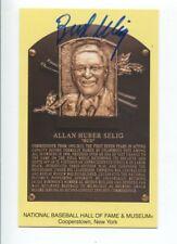 Bud Selig Signed 2017 Hall of Fame Postcard Plaque Autographed HOF Commissioner