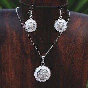 Artisan Creamy Opal Aztec Calendar Pendant Earring Set from Taxco Mexico