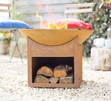 Shabby Chic Cast Iron Fire Pit with Log Store Rusty Cast Iron Fire Bowl Heater
