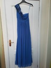 JANE NORMAN BLUE SHEER STUNNING BEADED SATIN CORSAGE ONE SHOULDER FLOATY MAXI 8