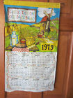 1979 Give Us This Day Our Daily Bread linen kitchen calendar towel w/hanger