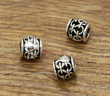 20 Barrel Beads Large European Bead Spacers Antique Silver 9x10x10mm 2281