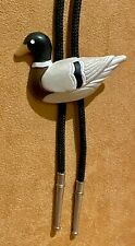 Nice Ceramic Mallard Duck Bolo With Braded Cord and Silver Tips